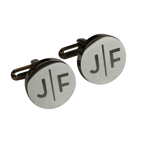 Personalised Split Letter Round Gunmetal Cufflinks