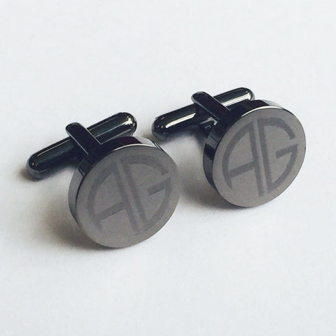 Personalised Engraved Monogram Round Gunmetal Cufflinks