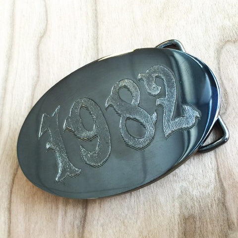 Deep Etched Oval Belt Buckle - Gunmetal