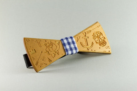 Old School Ink Wood Bow Tie