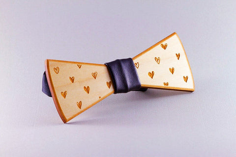 Hearts Wood Bow Tie