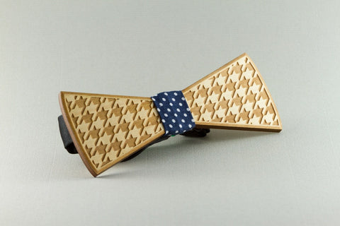 Houndstooth Wood Bow Tie