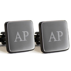 Personalised Engraved Square Gunmetal Cufflinks
