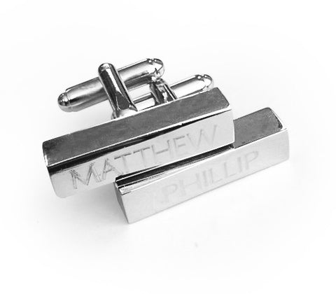 Personalised Engraved Bar Rectangle Shiny Silver Cufflinks