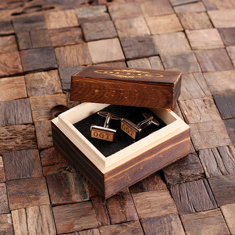 Personalised Rectangle Wood Insert Silver Cufflinks with Gift Box
