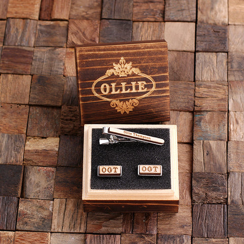 Personalised Rectangle Wood Insert Cufflinks and Tie Bar Gift Set