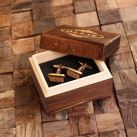 Personalised Rectangle Wood Insert Gold Cufflinks with Gift Box