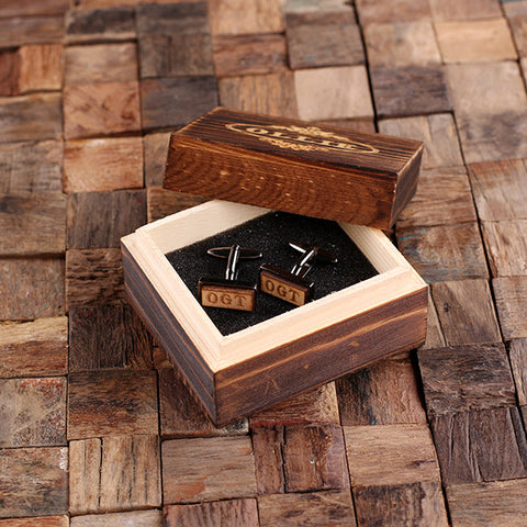 Personalised Rectangle Wood Insert Gunmetal Cufflinks with Gift Box