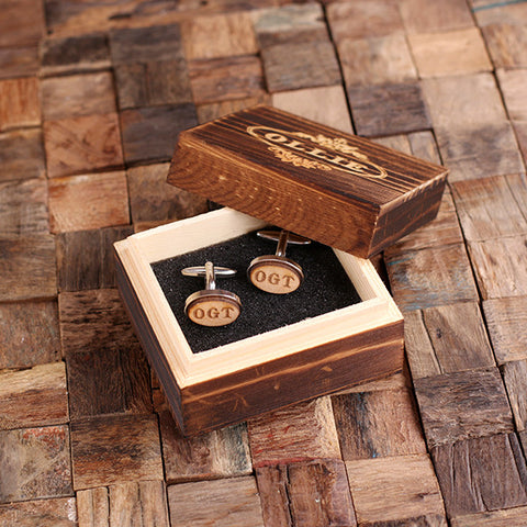 Personalised Oval Wood Insert Silver Cufflinks with Gift Box