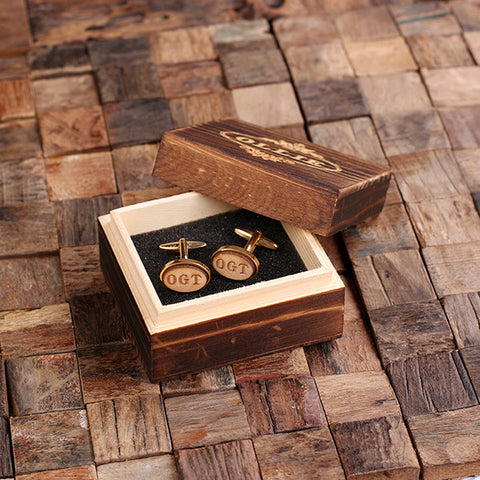 Personalised Oval Wood Insert Gold Cufflinks with Gift Box