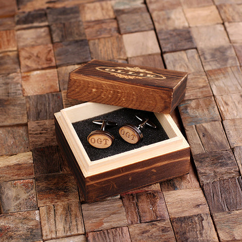 Personalised Oval Wood Insert Gunmetal Cufflinks with Gift Box