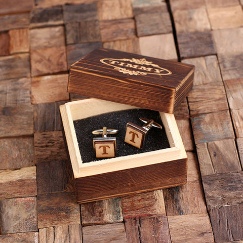 Personalised Square Wood Insert Silver Cufflinks with Gift Box