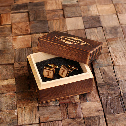 Personalised Square Wood Insert Gold Cufflinks with Gift Box