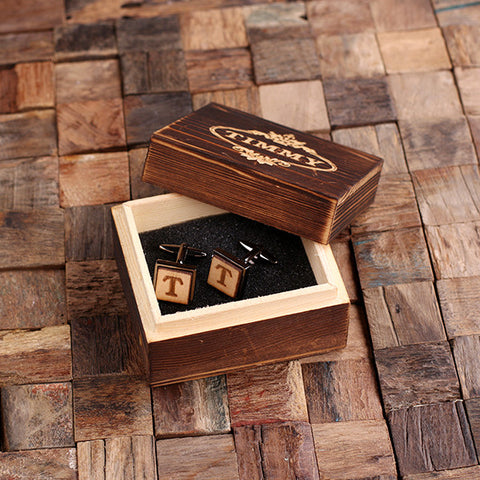 Personalised Square Wood Insert Gunmetal Cufflinks with Gift Box