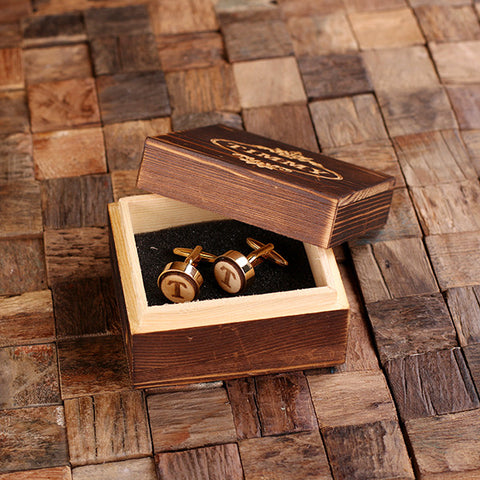 Personalised Round Wood Insert Gold Cufflinks with Gift Box