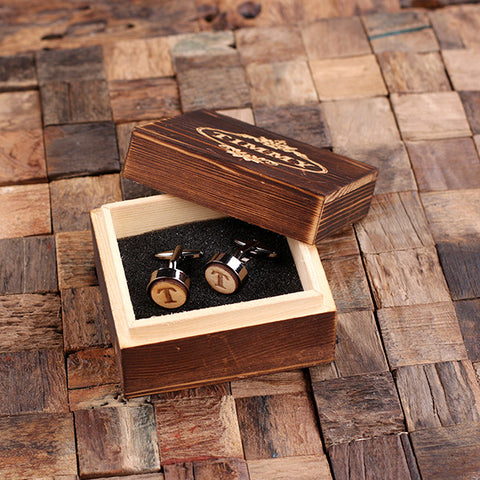 Personalised Round Wood Insert Gunmetal Cufflinks with Gift Box