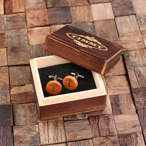 Personalised Round Wood Cufflinks with Gift Box