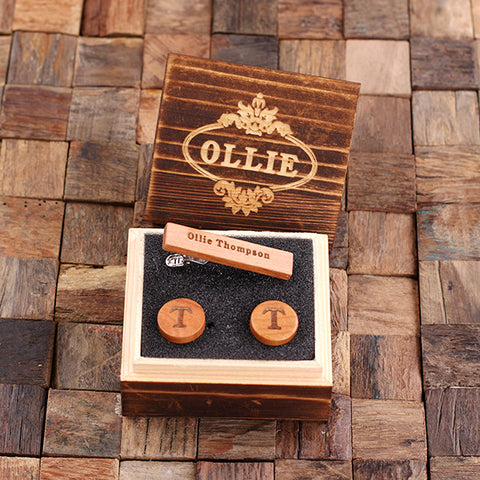 Personalised Round Wood Cufflinks and Tie Bar Gift Set