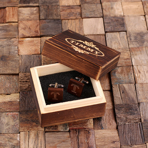 Personalised Square Wood Cufflinks with Gift Box