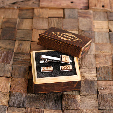 Personalised Rectangle Wood Insert Cufflinks and Square Tie Bar Gift Set