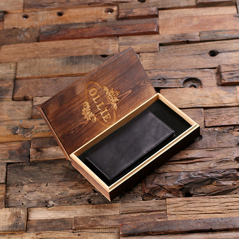 Personalised Monogrammed Black Long Bi-fold Wallet with Gift Box