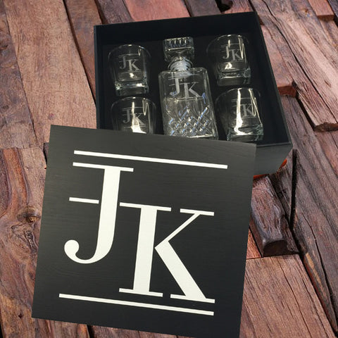 Personalised Printed Whiskey Decanter and 4 Whiskey Glasses Gift Set