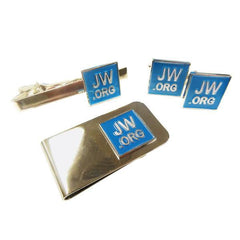 Jehovahs Witness Enamel Cufflinks Money Clip and Tie Bar set