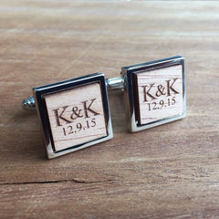 Personalised Square Laser Engraved Initial Wood Cufflinks
