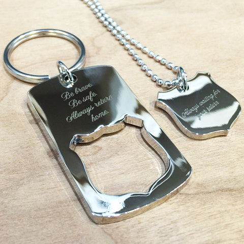 Personalised Shield Cut Out Key Ring + Matching Pendant Set