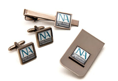 Printed Tie bar + Cufflinks + Money Clip Set Gun Metal