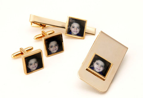 Printed Tie bar + Cufflinks + Money Clip set Gold