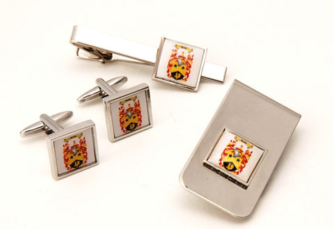Printed Tie bar + Cufflinks + Money Clip set Silver