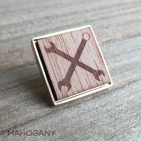 Personalised Square Laser Engraved Image Wood Lapel Pin Large