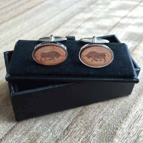 Personalised Oval Laser Engraved Image Wood Cufflinks