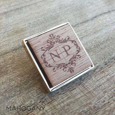 Personalised Square Laser Engraved Initial Wood Lapel Pin Large