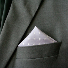 Lavender Polka Dot Silk Pocket Square