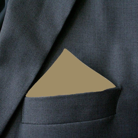 Plain Taupe Polyester Pocket Square
