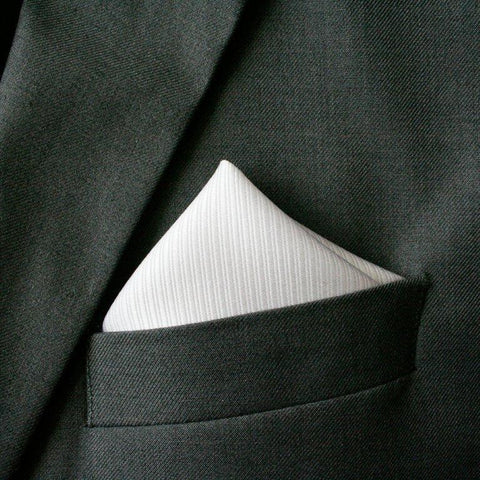 Classic White Silk Pocket Square