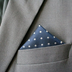 Navy Polka Dot Silk Pocket Square