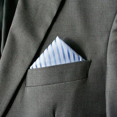 Multi Blue Striped Pocket Square