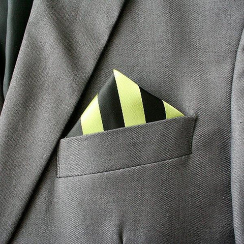 Black and Lime Striped Pocket Square