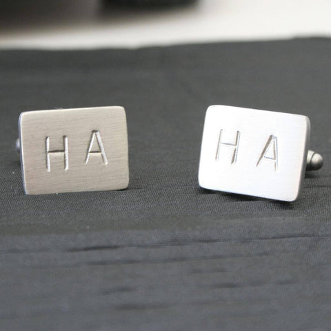 Personalised Stamped Letter Brushed Cufflinks