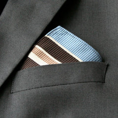 Mini Sky Blue and Brown Ribbed Pocket Square
