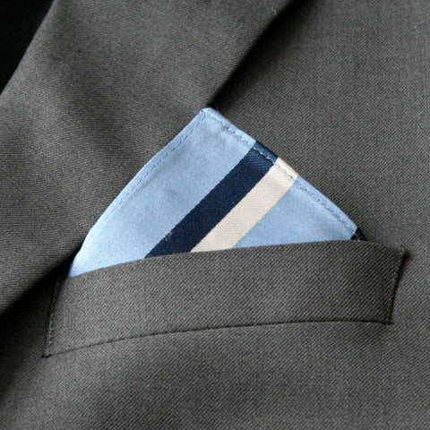 Mini Blue Striped Pocket Square