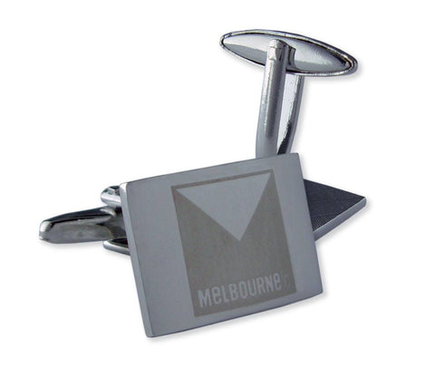 AFL Melbourne Demons Brushed Steel Cufflinks