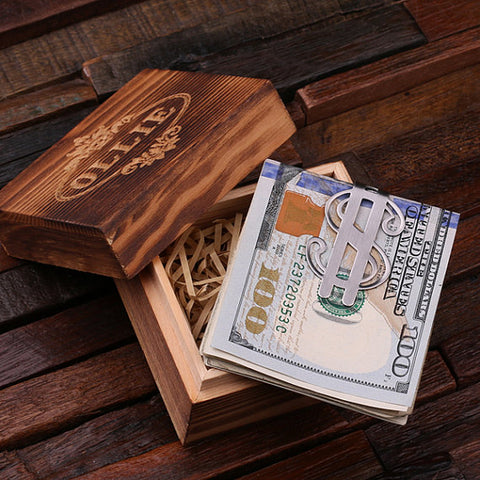 Personalised Dollar Sign Money Clip with Gift Box