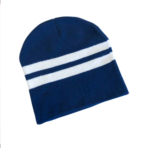 Supporter Beanies- Navy White Striped