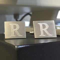 Engraved Single Letter Brushed Rectangle Cufflinks