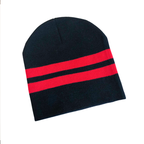 Supporter Beanies - Black Red Striped