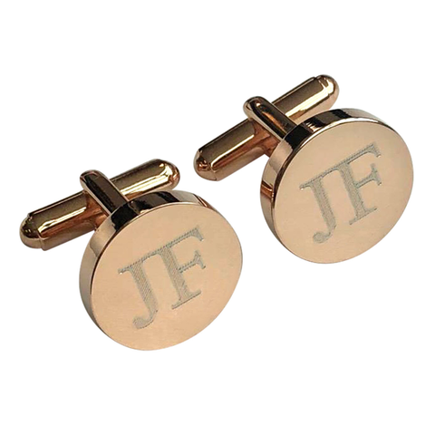 Personalised Engraved Round Rosegold Cufflinks